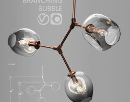 Branching bubble 3 lamps by Lindsey Adelman DARK 3D model