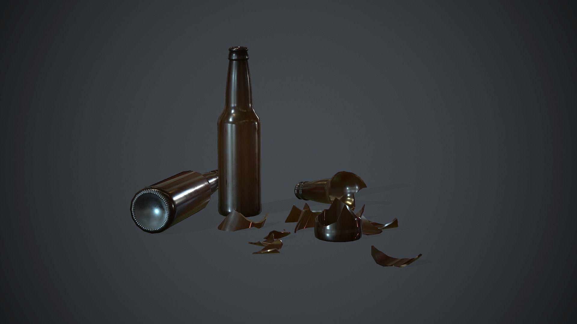 Brown Glass Broken Bottles PBR Game Ready