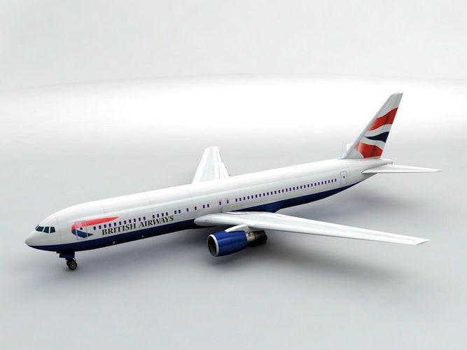 boeing 767-300 airliner - british airways 3d model max obj mtl 3ds dxf stl wrl wrz 1