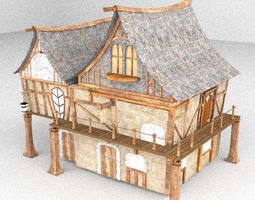 3D model game-ready games Medieval house