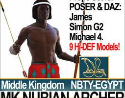 Ancient Egypt Archer Props Nubian Poser Daz 3D Model