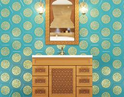 3D Wash basin cupboard one sink
