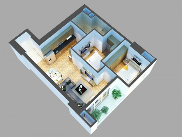 3d Model Architectural,interior,living,room,aerial,cutaway,bed,