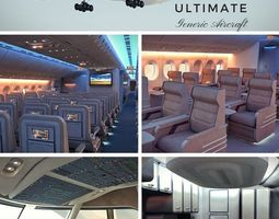 3D The Ultimate Generic Aircraft - 3 Full Interior Cabins