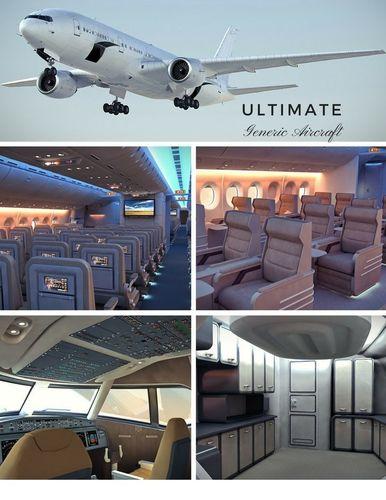 the ultimate generic aircraft - 3 full interior cabins -cockpit 3d model max obj mtl 3ds fbx c4d lwo lw lws 1