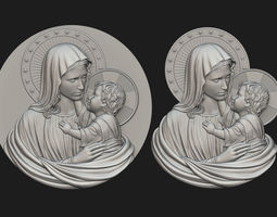 3D printable model Mary with Child Medallion