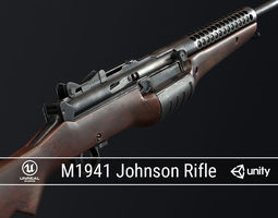 3D asset PBR M1941 Johnson Rifle
