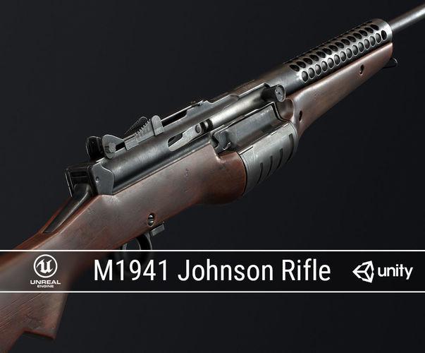 pbr m1941 johnson rifle 3d model low-poly obj mtl fbx ma mb dae 1