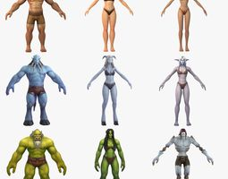 3D model 9x Fantasy Character Full Rigs and HumanIK