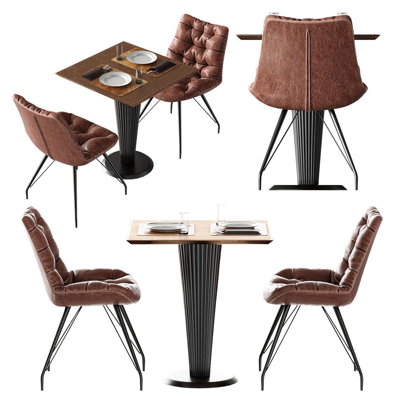 Chair Rowan Brown By Richmond Table Mesa Logan Roble By Brucs 3d Model Max  Obj Mtl ...