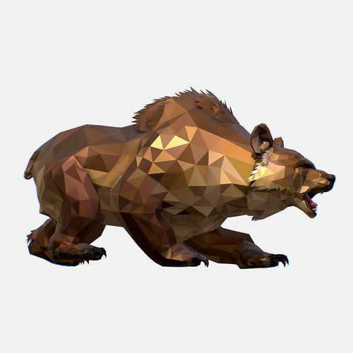 animated low poly art brown bear 3d model rigged animated max obj mtl fbx ma mb 1