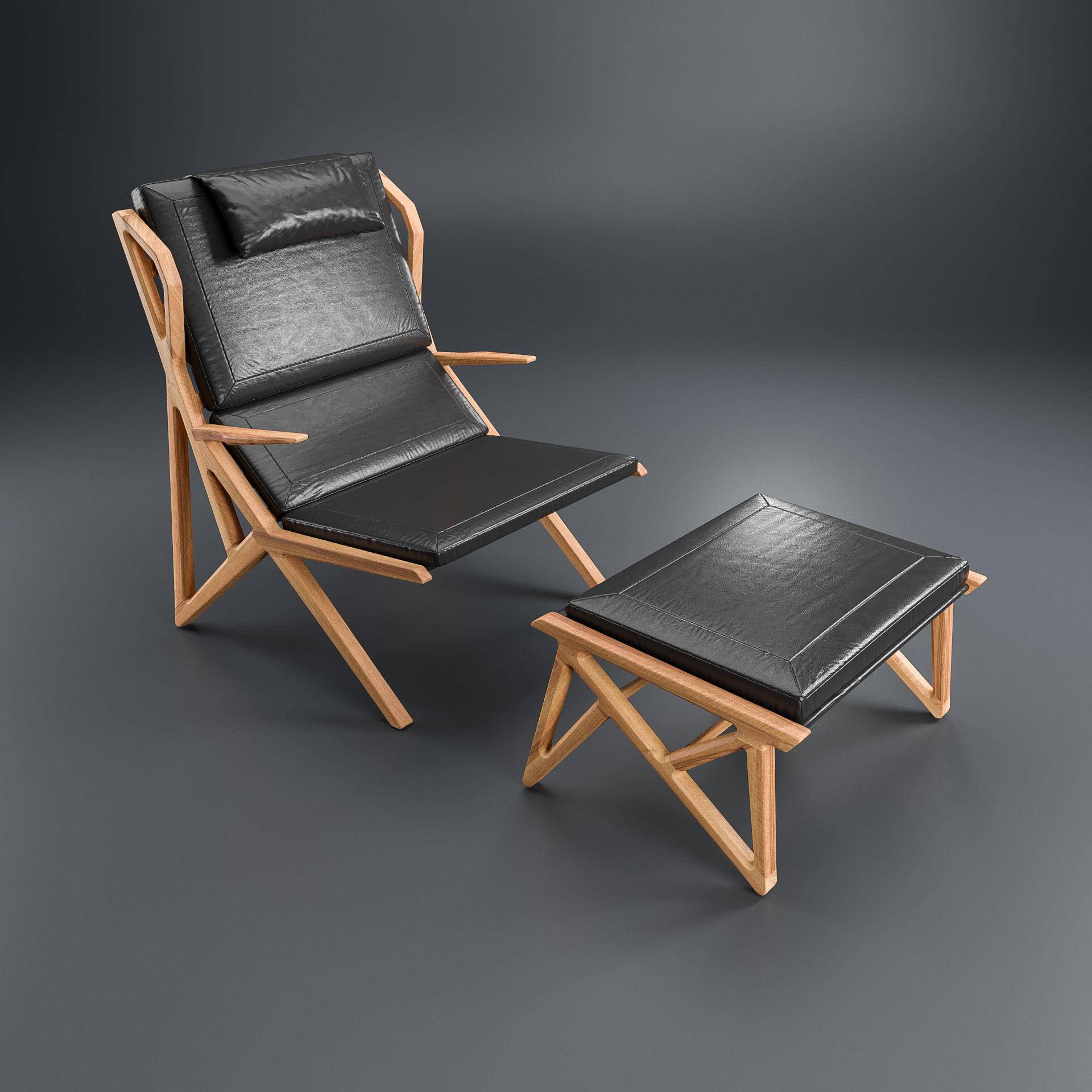 Hookl Und Stool Triangle Armchair 3d Model Max Obj Mtl Fbx 1 ...