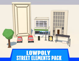 3D asset LOWPOLY STREET ELEMENTS PACK