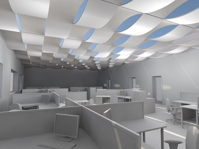 archicad wave ceiling object 3d model gsm 1