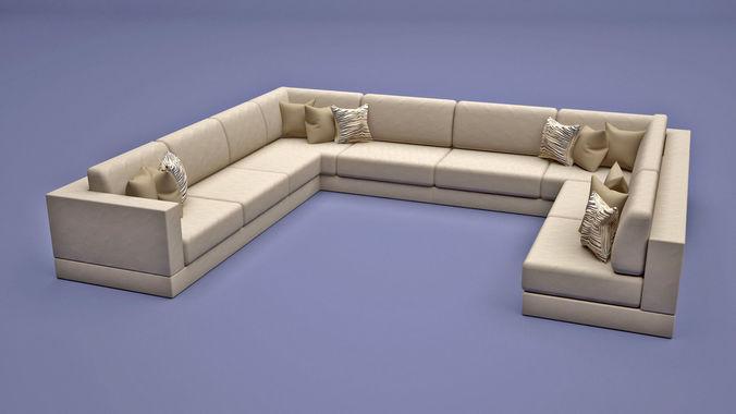Sofa U Shape Model Max Obj Mtl S 1