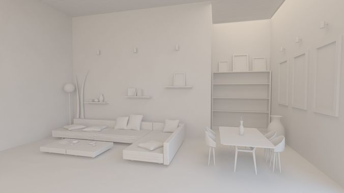 Lovely Living Room With Furniture 8 X 10 M 3d Model Max Obj Mtl ...
