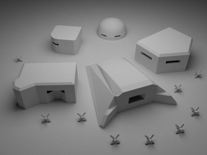war pillboxes 3d model obj mtl fbx stl 1