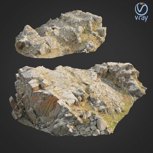 3d scanned rock cliff k2 3d model max obj mtl fbx 1