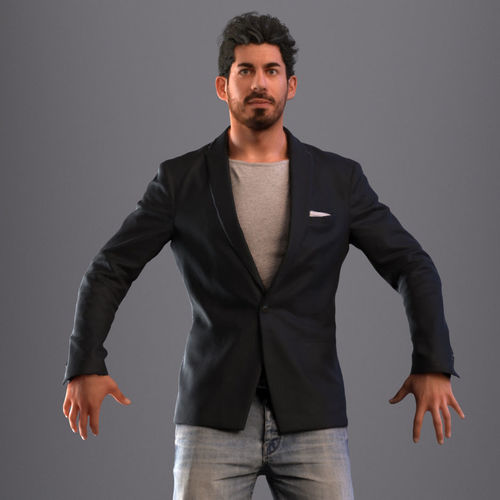 rigged man in business casual attire with realistic hair  3d model low-poly rigged max fbx 1