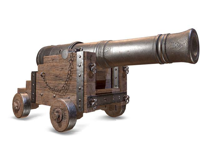 pbr  war cannon 3d model obj mtl fbx ma mb tbscene tbmat 1