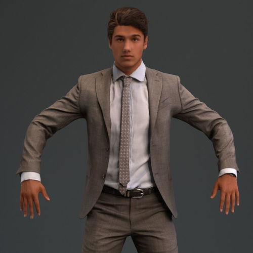 rigged european male 3d model in business formal attire 3d model low-poly rigged max fbx 1