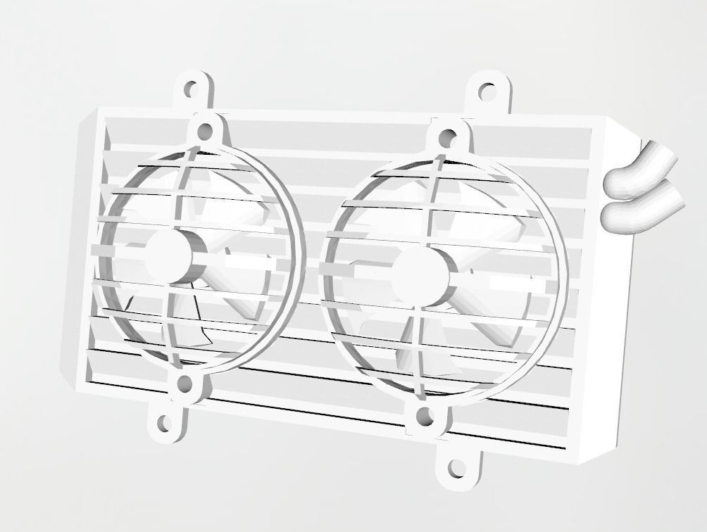 Radiator with working fans