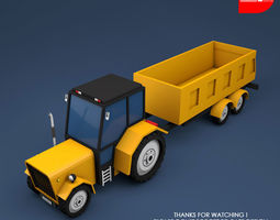 Low Poly Tractor Trolley 3D asset