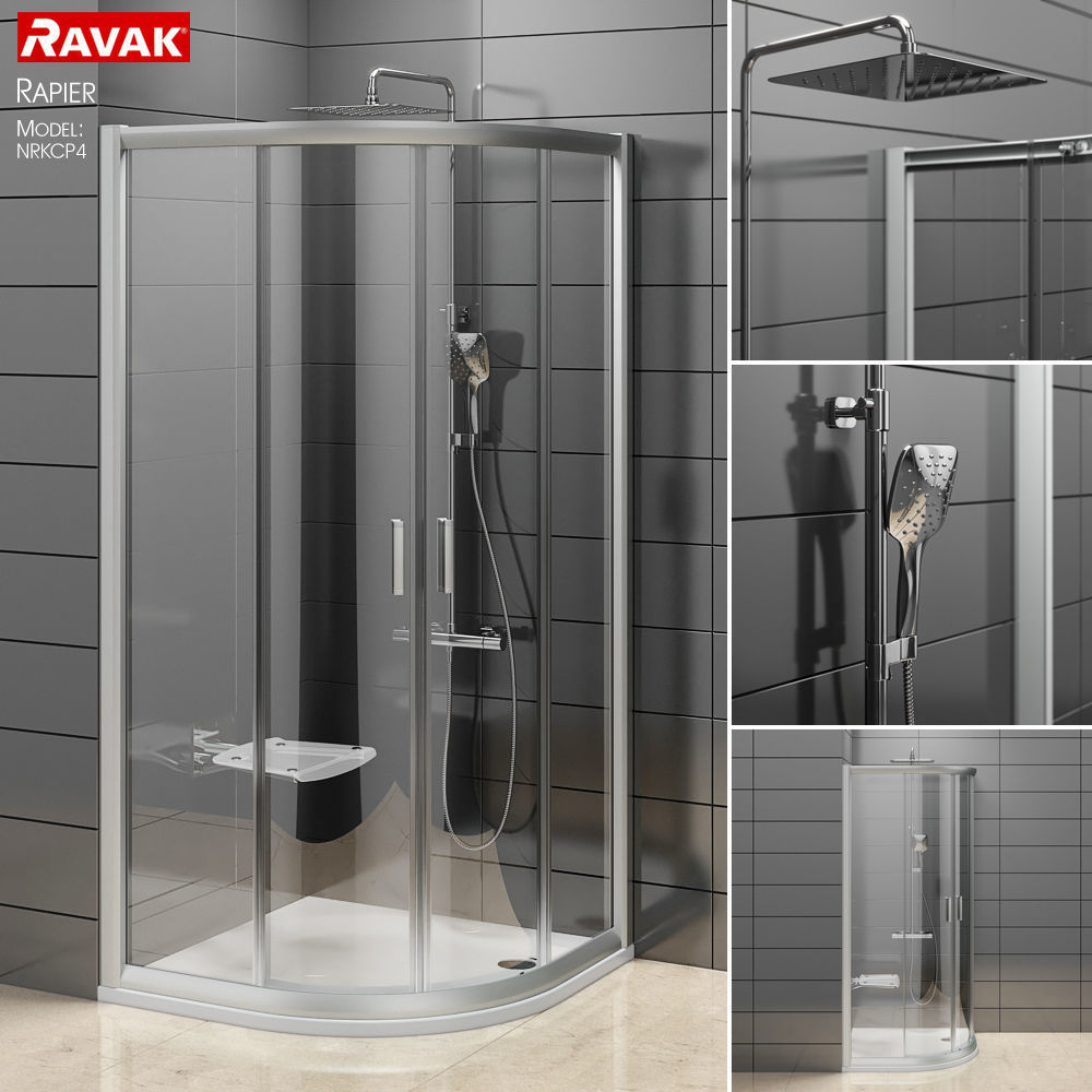 3D Semicircular shower enclosures Ravak Rapier | CGTrader