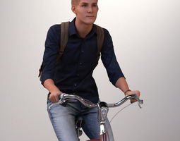 Pre-posed man on a bicycle with realistic hair 3D