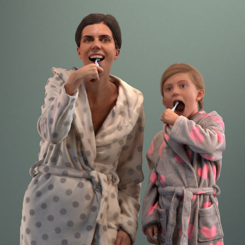 pre-posed 3d mother and daughter brushing their teeth  3d model max obj mtl fbx 1