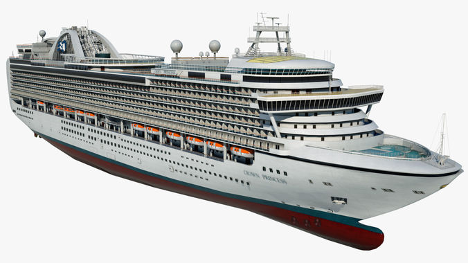 cruise ship crown princess 3d model max obj mtl 3ds fbx 1