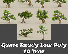 Low Poly 10 Tree Collection 3D asset