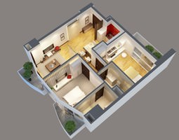 3d model modern interior apartment