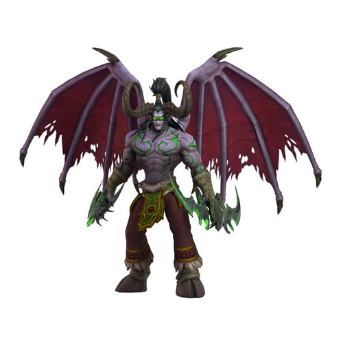 warcraft illidan animated and rigged 3d model low-poly rigged animated ma mb 1