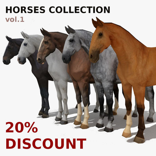 lowpoly horses collection volume 1 3d model low-poly obj mtl 3ds fbx blend 1