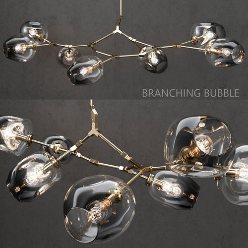 branching bubble 7 lamp by lindsey adelman dark gold 3d model max obj mtl fbx 1
