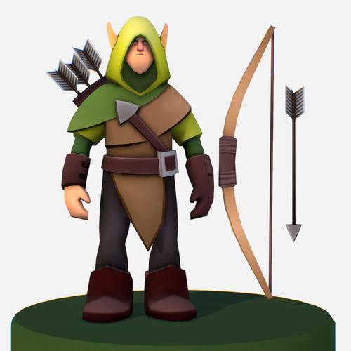 handpaint cartoon archer scout mmo rpg character 3d model low-poly max obj mtl fbx ma mb tga 1