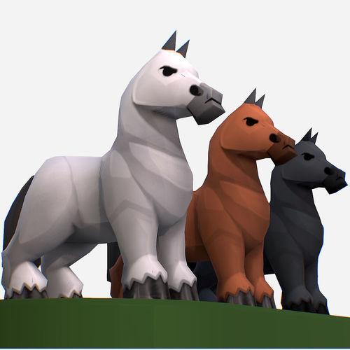 handpaint cartoon medieval horse mmo animal 3d model low-poly max obj mtl fbx ma mb tga 1