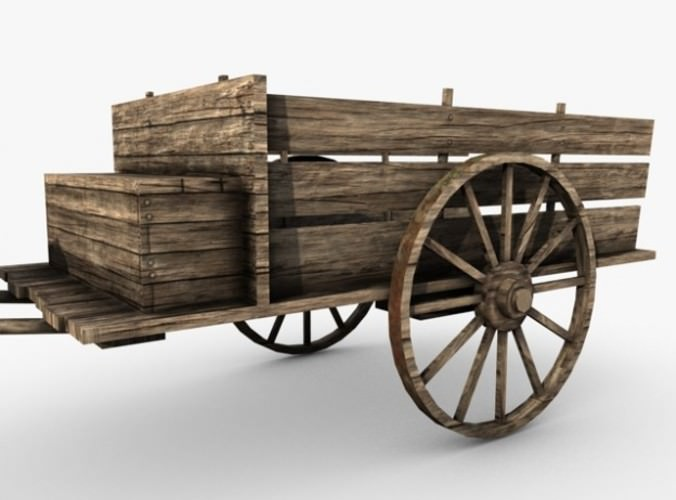 low poly wooden old cart 3D Model .max .obj .3ds .fbx .c4d - CGTrader.com