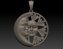 3D print model Sun and Moon - Pendant sun