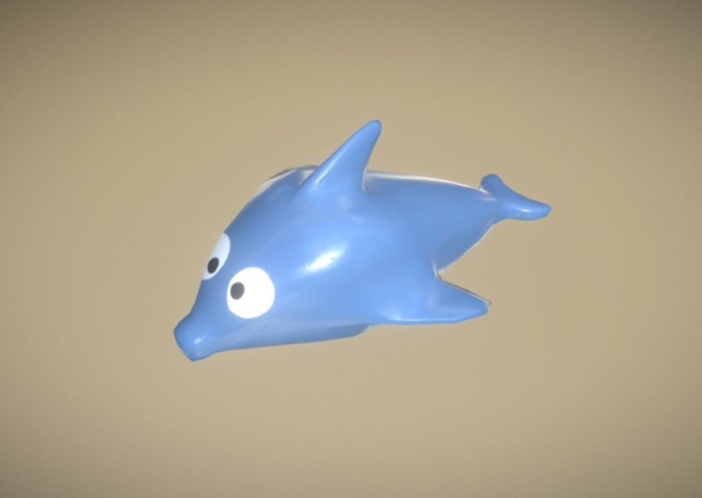 Game Ready Dolphin Plastic Blue Bath Toy Low Poly