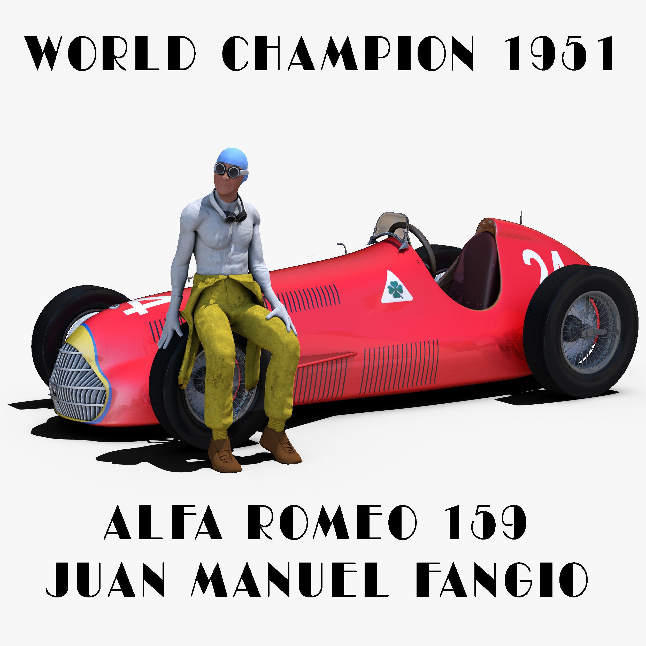 3D model Alfa Romeo Alfetta 159 VR AR low poly rigged MAX OBJ
