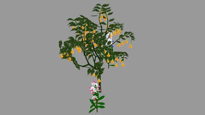 tree flower 3d model low-poly obj mtl fbx 1