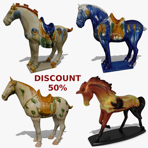 horse statuettes collection volume 6 3d model obj mtl 3ds ma mb blend 1