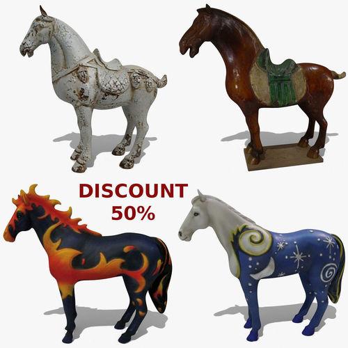 horse statuettes collection volume 8 3d model obj mtl 3ds ma mb blend 1