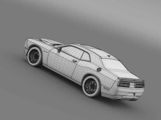 Dodge Challenger SRT Hellcat Supercharged  3D Model .max .obj .3ds