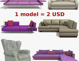 Furniture Collection 3D divan