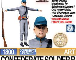 Civil War Confederate Soldier B Infantry 3D Model