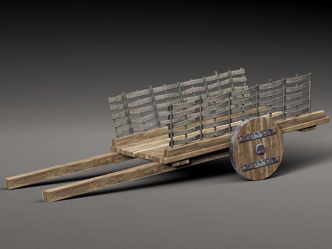 old wooden cart 3d model low-poly max obj mtl 3ds fbx c4d 1