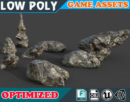 3D asset Low poly Realistic Wet Mossy Rock pack 002D